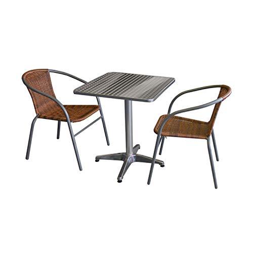 Wohaga 3tlg. Bistro- und Balkongarnitur Tisch 60x60cm Silber + 2 Polyrattan-Stapelstühle Grau/Cappuccino Gartengarnitur Balkonmöbel Terrassenmöbel Set Sitzgruppe -
