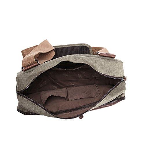Eshow Borse a tracolla da uomo di tela a mano Multifunzione per viaggio borsa shopper bag shopping trekking Oliva