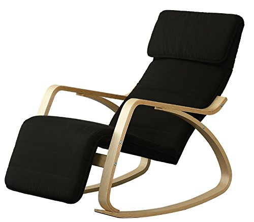 Orolay Fauteuil à Bascule avec Repose-Pieds réglable Design Berçante Relax Bouleau Flexible Noir
