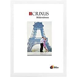 CRIXUS Crixus35 Cadre Photo pour Photos 80 cm x 120 cm, Couleur: Blanc Mat, Cadre en Bois MDF Fait sur Mesure doté d'Un Verre synthétique antireflet, Dimension extérieure: 85,8 x 125,8 cm