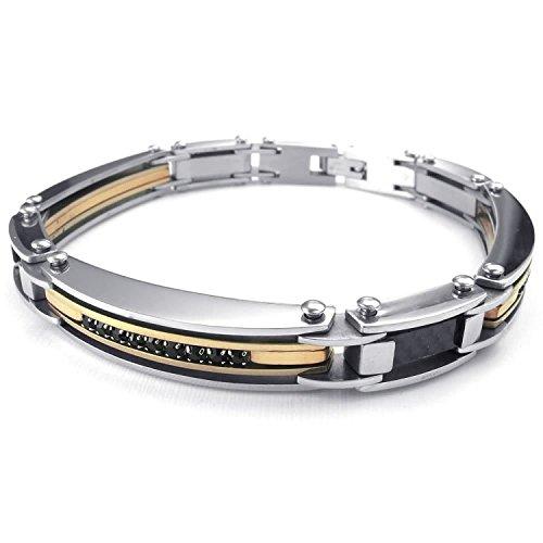 MENDINO gioielli da uomo in fibra di carbonio, Bracciale in acciaio inox con zirconi cubici, colore oro, nero e argento; lunghezza 21,5 cm.