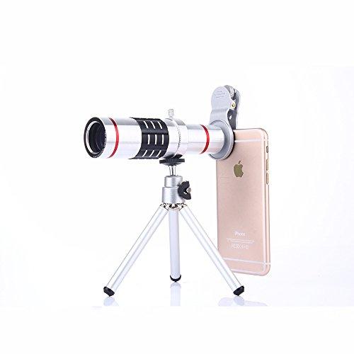 SUKILIU 3 In 1 Kamera Objektiv Kit - 18X Tele & Weitwinkel & Makro Objektiv Mini Stativ Handyhalter Für iPhone X / 8/7/6 / 6S Plus Samsung Galaxy S8 / S7 Plus Andriod Telefon,Silver Weitwinkel-objektiv-kit