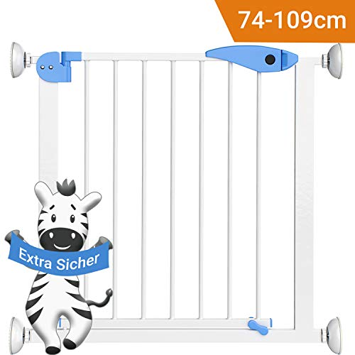 """Avantina®\""""Zebra Uschi\"""" Türgitter und Treppenschutzgitter -Treppenschutzgitter ohne Bohren aus Metall - Verlängerbar - geeignet für Türrahmen von 74-89 cm"""