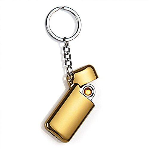 lingan USB Feuerzeug Mini USB Feuerzeuge Tragbare wiederaufladbare flammenlose winddicht Schlüsselanhänger eelectronic Feuerzeug, gold