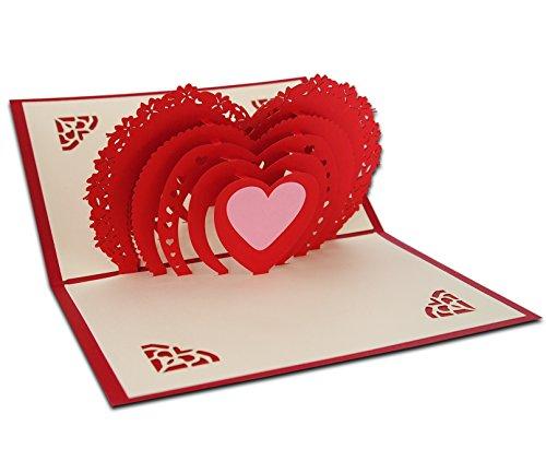 3d pop up love della busta per biglietto d' auguri amore per mamma il suo lui con scarlet e love kraft sticker per san valentino, anniversario, regalo di compleanno per lei handmade craft origami molti cuori