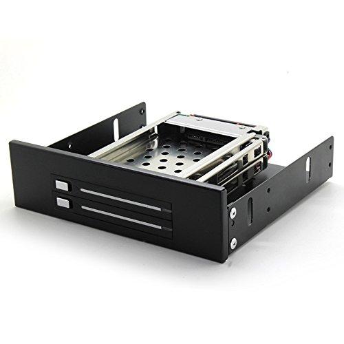 gooqee HDD Rack schwarz Aluminium 2Bay 6,3cm SATA HDD Mobile Rack für ODD Standort DVD auf HDD Adapter