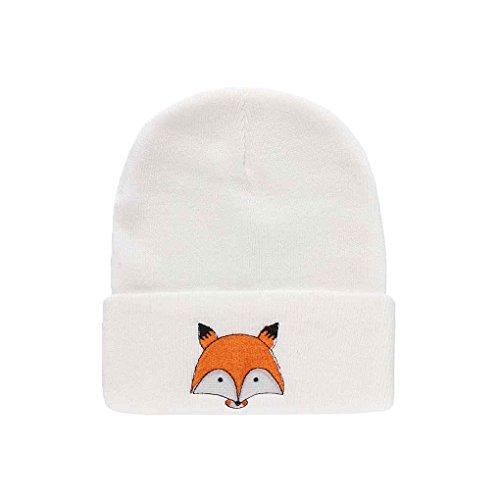Bobury Warme Wintermütze gestrickt Womens Caps Mädchen Fox Muster Hüte weibliche Ski Caps Damen Stricken Cap Skullies -