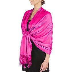 "Sakkas - 78""x 28"" Pashmina suave con diseño de Paisley (foulard) - bufanda sedosa/abrigo / - fucsia"
