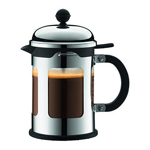 Bodum CHAMBORD Kaffeebereiter (French Press System, Auslaufschutz, Edelstahlrahmen, 0,5 liters) glänzend