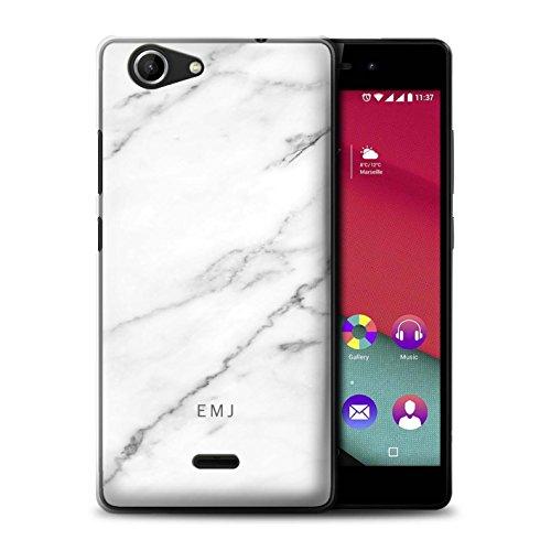 Stuff4® Personalisiert Personalisiert Marmor Hülle für Wiko Pulp Fab 4G / Porzellan Weißen Etikett Design/Initiale/Name/Text Schutzhülle/Case/Etui