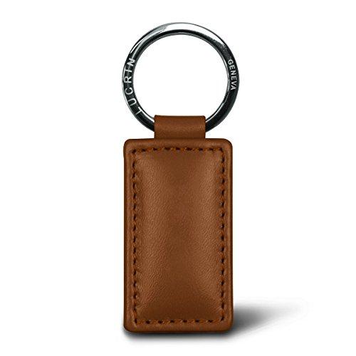 Lucrin Porte Clés Rectangulaire Simple Cuir Vachette Lisse 8 cm Marron (Cognac) PM1085_VCLS_CGC