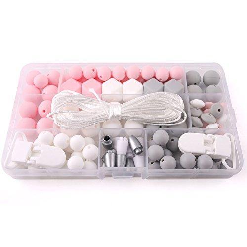 baby tete Perles de silicone Accessoires de clips de sucette Bijoux de bricolage Ensemble Bijoux de dentition Bijoux à la main Sucettes à la main Sucettes à la silicone Jouets bébé