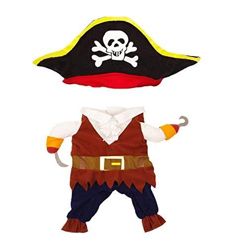 (BAIVIT Pet Halloween Kostüm Passend Für Kleine und Mittelgroße Hunde/Katzen Stehend Piraten Verkleiden Cool Transform,L)