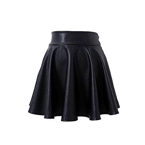 QIANDUOO EULAGPRE Falda de Cuero de Alta Cintura para Mujer Casual Slim Acima de Las Mini Faldas de la Rodilla Hembra