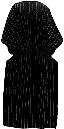 La Leela Rayon leichten tiefen Hals 5 in 1 Badeanzug Badebekleidung Bikini Strandparty verschleiern Nachtzeug beiläufiges Kleid Tunika Top-Nachtkleid kurz Kaftan Frauen bestickt Maxi Schwarz 2