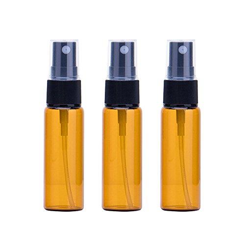 furnido 3ml 5ml 10ml Bernstein Glas Spray Flasche mit Schwarz Fine Mist Sprayer Flasche Ampulle für ätherisches Öl Travel Aromatherapie parfum Kosmetik Wasser Spray Flasche Zerstäuber Container–10Stück Pcs, 10ml