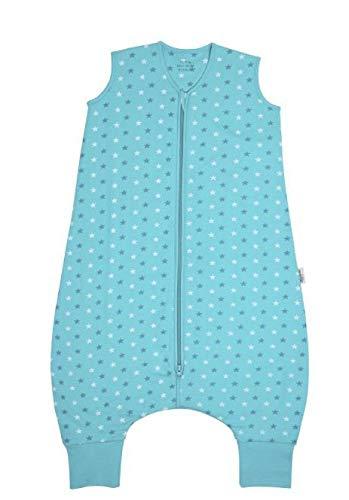 Schlummersack Sommer Schlafsack mit Füßen leicht gefüttert für Erwachsene in 1.0 Tog - Teal Stars - Größe L