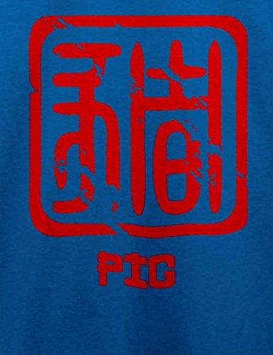 Chinese Signs Pig T-Shirt Royal Blau