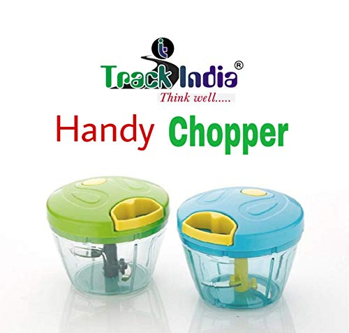 Track India Pull String Plastic with Stainless Steel Manual Food Processor Chopper/Mincer/Blender, 10 Inch, Multicolour