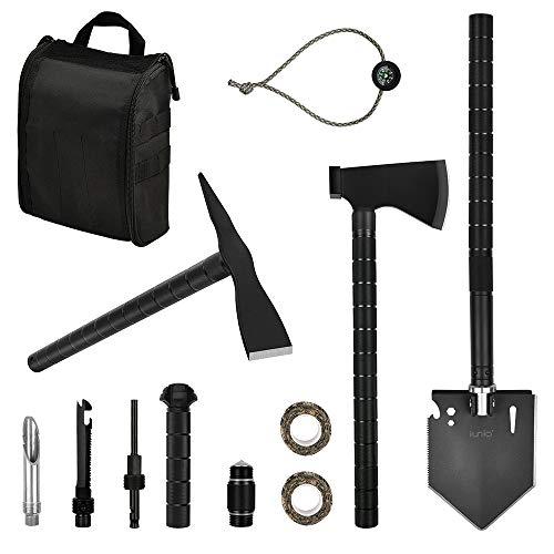 Iunio Survival-Werkzeug-Set, Faltbare Schaufel, Multitool Axt Spitzhacke mit Tragetasche für Camping, Rucksackreisen, Wandern, Einsteigen, Outdoor-Autos, Notfälle, Large