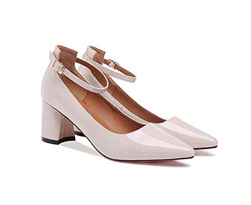 Damen Geschlossene Pumps Blockabsatz Spitzen Zehen Hochzeit Schuhe Beige
