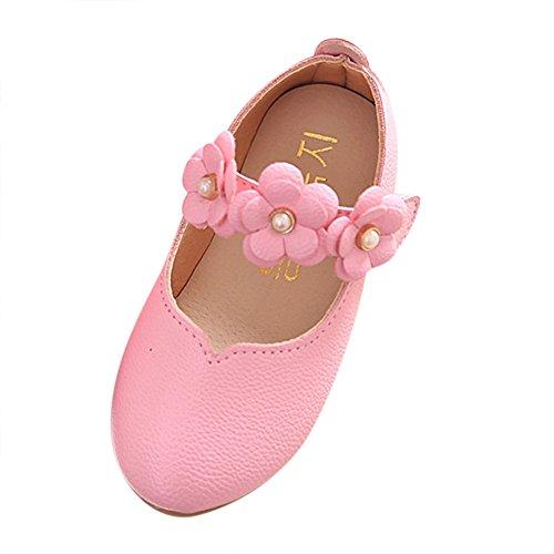 Dorical Baby Mädchen Prinzessin Modisch Kinderschuhe mit Klettverschluss/Kind Elegant Blumen Weich Einfarbig Freizeit Tanzschuhe Kunstlederschuhe Kleinkind Bequem Süß Schuhe(Rosa,21 EU)