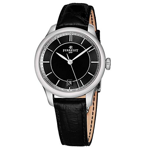Perrelet Women's 35mm Black Alligator Leather Band Automatic Watch A2068-2