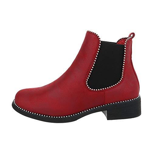 Ital-Design Damenschuhe Stiefeletten Chelsea Boots Synthetik Weinrot Gr. 40