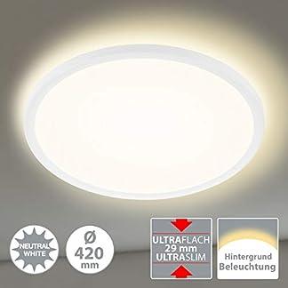 Briloner Leuchten Pannello Luminoso Rotondo Slim a soffitto – Ultrapiatto e retroilluminato – Scheda LED Integrata, 22 Watt, 3000 lm, Luce Bianca W