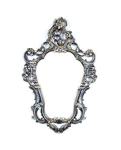Ideacasa Coiffeuse Miroir Noir Or Doré Style Baroque Louis XVI Imitation Vintage 75 x 49