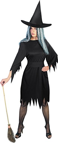 Smiffys, Damen Schaurige Hexe Kostüm, Kleid, Gürtel und Hut, Größe: M, 20421 (Hexe Kostüm Hut)