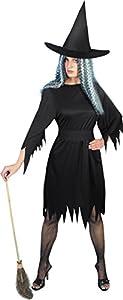 Smiffys Disfraz de Bruja horripilante, Negro, con Vestido, cinturón y Sombrero