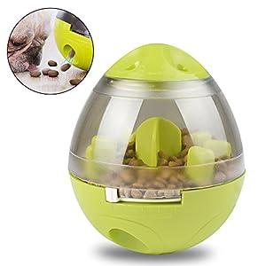 AiQInu Distributeur de Nourriture Chien Chat Alimentation lente Balle Interactive Formation IQ Slow Feeder Non-toxique Jouet d'alimentation Vert