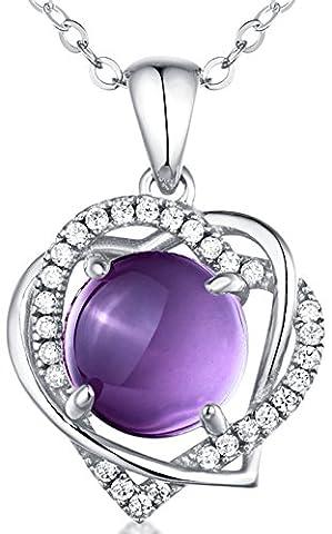 Sterling Silber und natürlichen Amethyst Gem Doppel Herz Anhänger Halskette