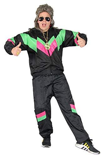 80's Kinder Mode Kostüm - Foxxeo schwarzer 80er Jahre Kostüm für Erwachsene Trainingsanzug Assianzug Assi S-XXXL Größe L