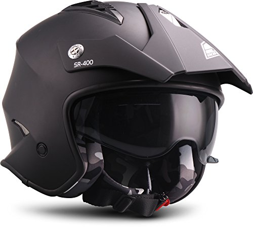 Soxon Motorrad-Helm, Schwarz, Größe L (59-60 cm)