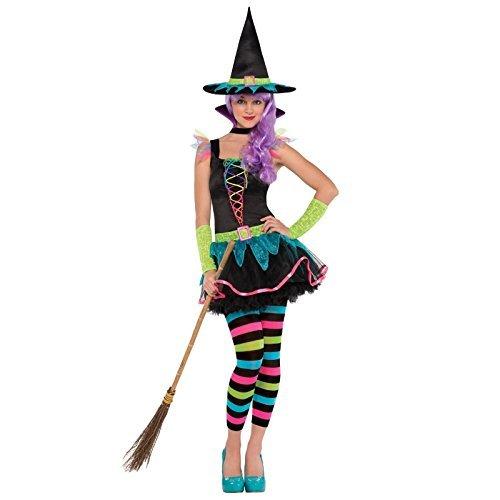 Mädchen Neon Hexe Kostüm Teens Halloween Outfit Größe-12Jahre
