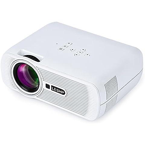 LESHP Mini Proyector LED Inalámbrico 1080p HD HDMI / VGA / USB / AV / TV Home Cinema (1300 Lumens,