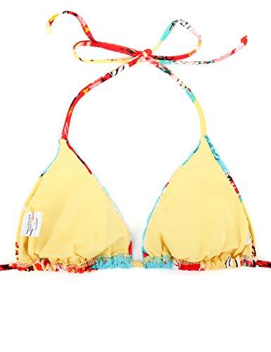 RELLECIGA 2017 Damen Bademode Triangel Bikini Set mit Unterteil im Brasil Style Blaue Spitze Floral Floral Gelb