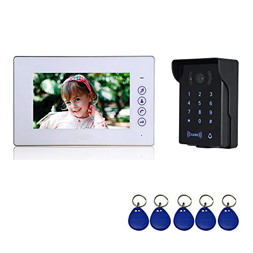 Nudito Video Doorbell Kit with Touch Button, Intercom (1 LCD Monitor with 7 Inch Screen, 1 Outdoor Unit with Infrared Camera, Waterproof, Night Vision. Open door with RFID Cards, Password), White