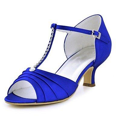 RTRY Donna Scarpe Matrimonio Della Pompa Base Raso Elasticizzato Estate Abito Da Sposa Crystal Fibbia Chunky Heel Blu Verde Rosso Rubino Blu Scuro Nero 2A-2 3/4In US4-4.5 / EU34 / UK2-2.5 / CN33