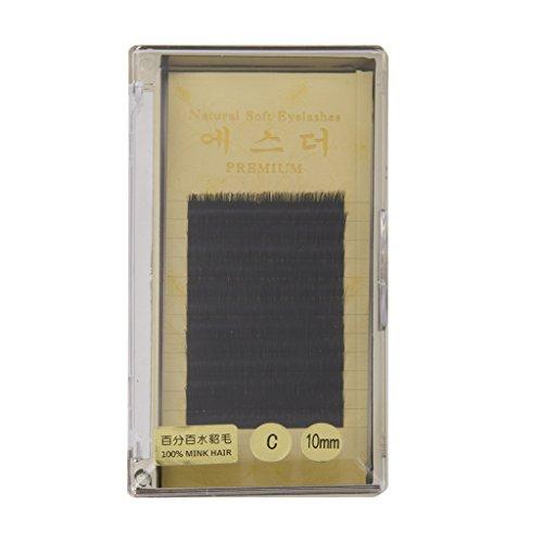 Faut Cils Individuel Bouclé Extensions de Cils Noir 10mm