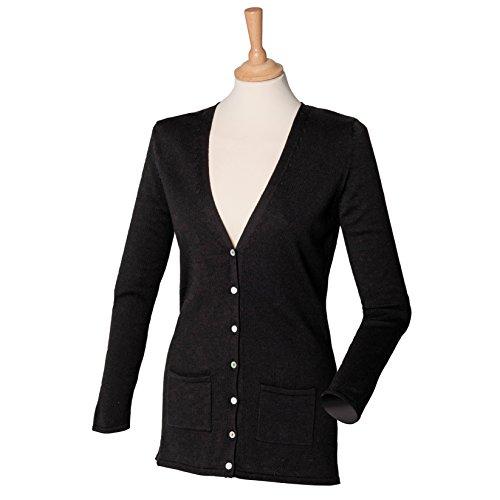 Henbury Women's v-button cardigan Schwarz