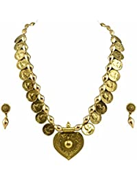 Tripti Golden Tribal Coins And Pendant Necklace With Earrings