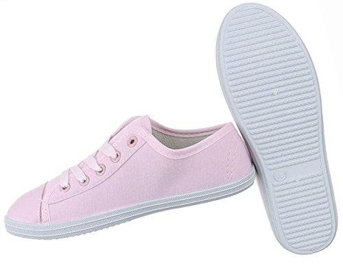 Damen Schuhe Freizeitschuhe Schnürer Low-top Sneaker Grau Rosa