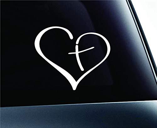 CAR Stickers Home Herz mit Kreuz in der Mitte Decal Sticker Vinyl für Auto Auto Christian 3,5
