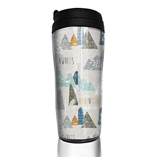 Travel Coffee Mug Colorful Mountains 12 Oz Spill Proof Flip Lid Water Bottle Environmental Protection Material ABS
