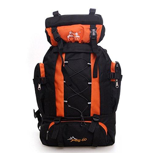 60L Groß Kapazität Bergsteigen Tasche Reise Rucksack Wandern Tasche Outdoor Rucksack Orange