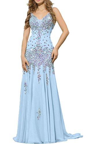 Victory Bridal Luxurioes Chiffon Aermellos Steine V-Ausschnitt Abendkleider Ballkleider Lang Himmelblau