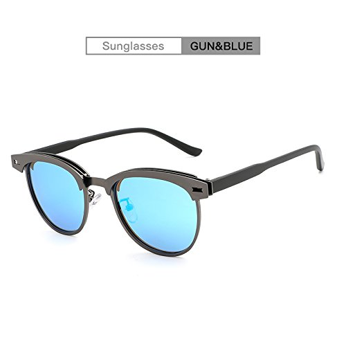 Ruiyue Occhiali da sole Classic da guida per uomo Fashion Brand Half Frame Metal Polarized Occhiali da sole UV400 unisex (Color : Gun+blue)